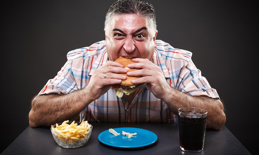 Greedy Man Eating Burger
